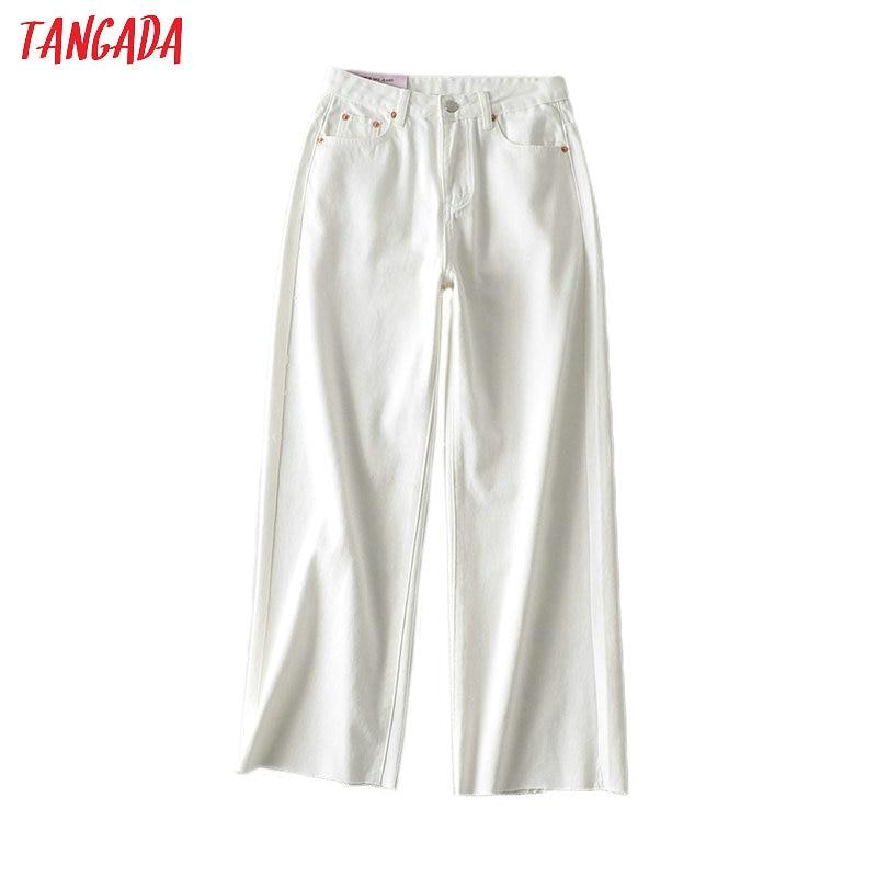Tangada 2020 Fashion Women White Wide Leg Jeans Pants Long Trousers Summer New Pockets Zipper Female Pants 2M77