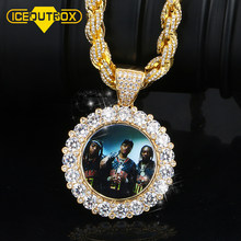 Custom Photo Memory Medallions Solid Pendant Necklace With Shining Big Crystal Hip Hop Jewelry For Men's 8MM Big Rope Chain Box(China)
