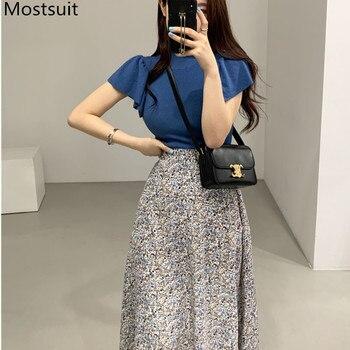 2020 Summer Korean Fashion 2 Piece Skirt Sets Outfits Women Blue Tops + Printed Elastic Waist A-line Vintage Matching