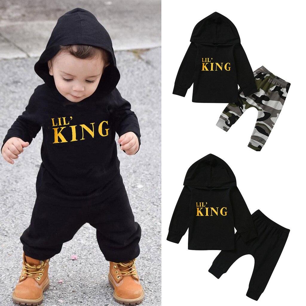 2020 חדש לפעוטות ילדים תינוק ילד מכתב הסווטשרט T חולצה חולצות + Camo מכנסיים תלבושות יילוד בגדי סט ילדים חליפה באיכות גבוהה