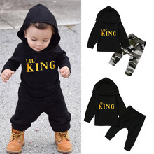 Toddler Kids Baby Boy Letter Hoodie T Shirt Tops+ Camo Pants