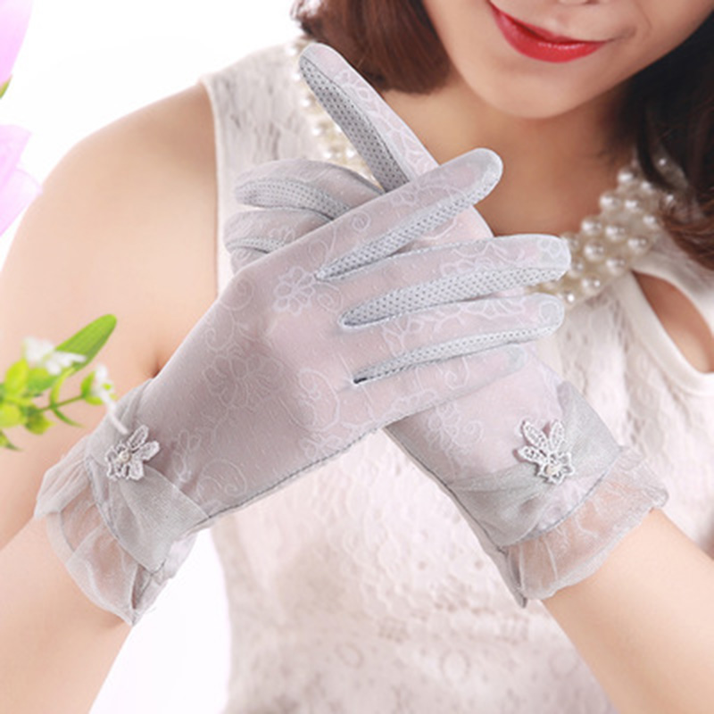 Sexy Lace Bow Anti-UV Full Finger Touch Screen Gloves Summer Women Long Non-Slip Ice Silk Thin Sunscreen Driving Gloves E11