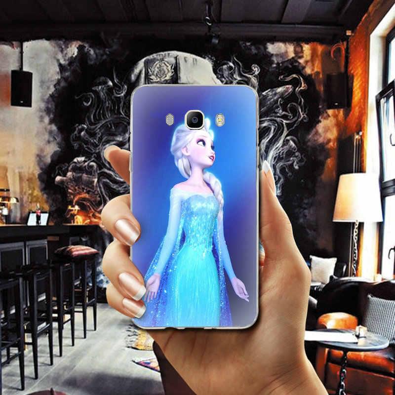 冷凍プリンセスエルザアンナソフト TPU シリコーン電話ケース三星銀河コア A3 A5 A7 A8 A9 A9S スター 2016 2017 2018 プロシェル