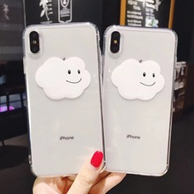 Cute cartoon simple smiley face cloud couple phone case for iPhone Xs MAX XR X 6 6s 7 8 plus clear soft TPU back cover