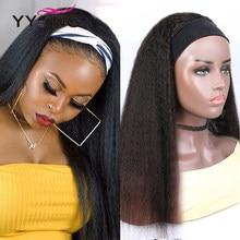 YYong Yaki bandeau droit perruque de cheveux humains avec écharpe crépus droite perruque de cheveux humains pour les femmes Remy brésilien perruque de cheveux raides