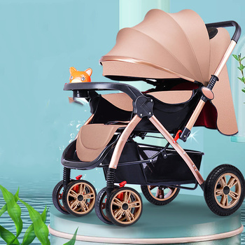 Baby Stroller 3 In1 High View Pram Landscape Baby Carriage 360 Rotation Travel System 0-3 Y Lightweight 2 In 1 Baby Strollers image