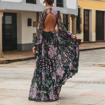 Vintage dos nu longue Robe Maxi femmes imprimé fleuri dos ouvert été plage Robe 2020 taille haute manches longues robes Robe Femme