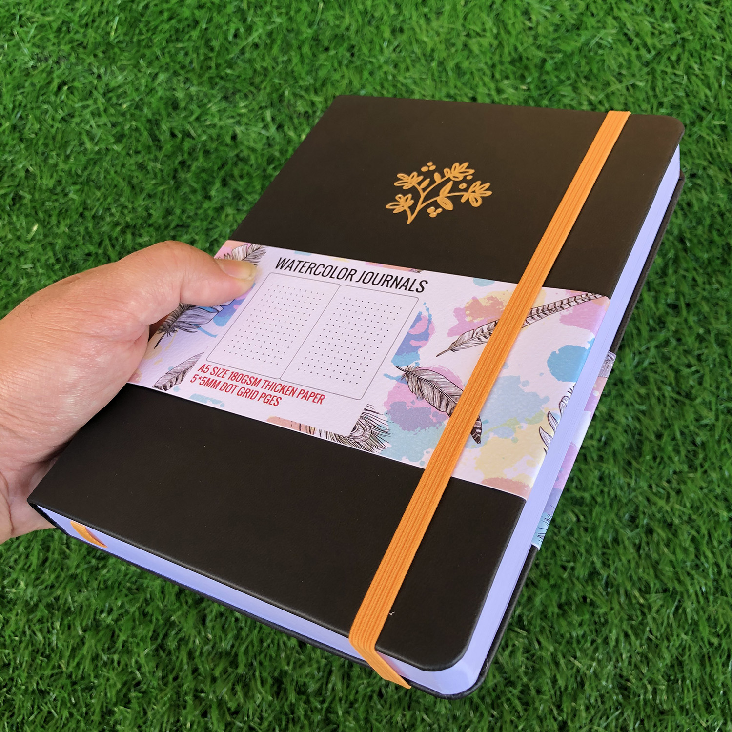 Closeout DealsNotebook-Journal Watercolor Bullet Thicken-Paper Dotted 180GSM Gird 5x5mm 160-Pages