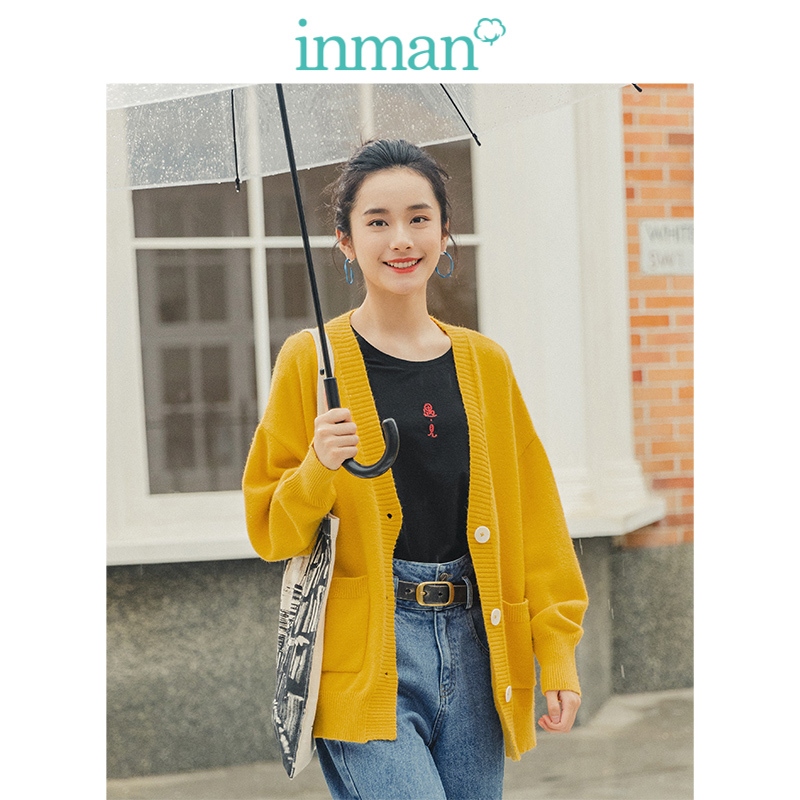 INMAN 2019 Autumn New Arrival Young Literary Style Ribbing V-neck Solid All Matched Drop-shoulder Sleeve Women Cardigan