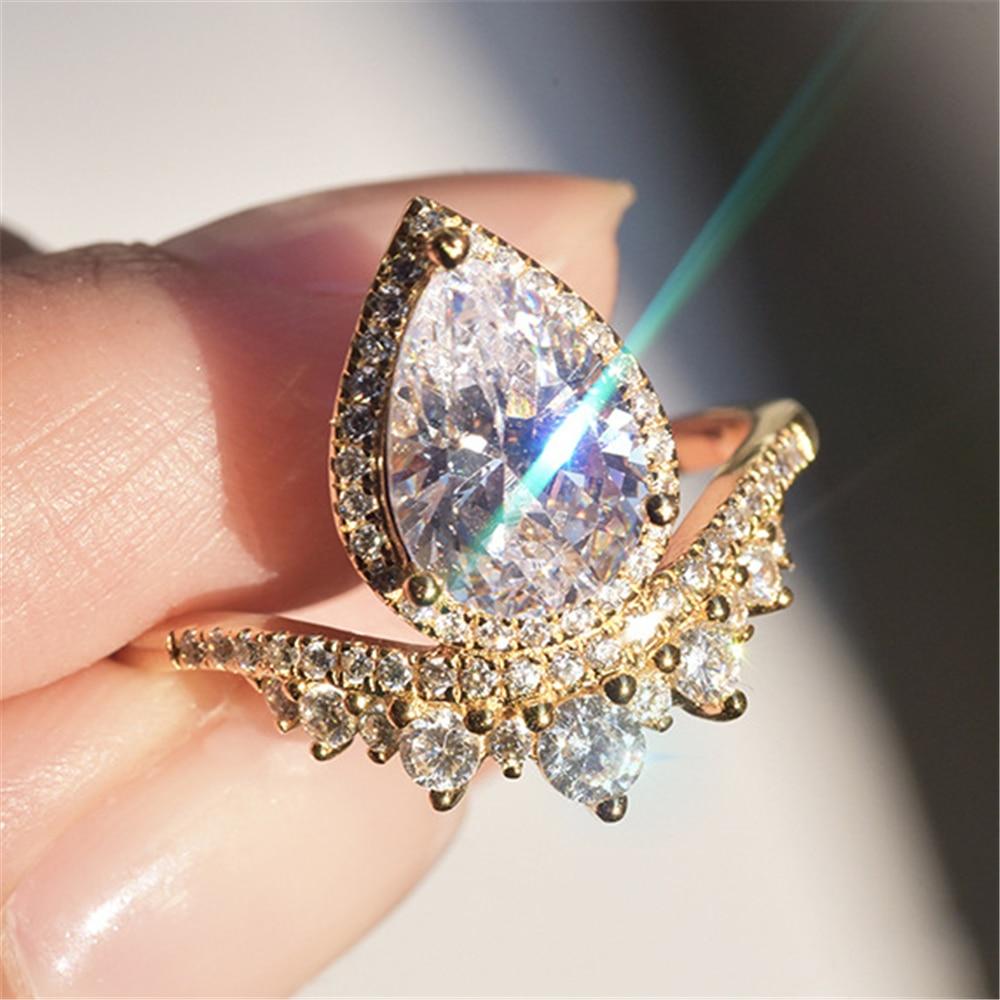 Loreдана уважаемая леди продуманное кольцо Капля воды Корона Яркий Циркон золотой цвет кольцо принц и принцесса история любви JZ743