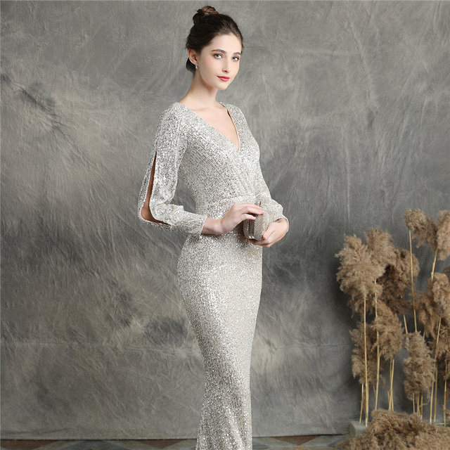 Sequins Women Party Dress DX240-6 2019 New Plus Size Mermaid Prom Dress Robe De Soiree Apricot Silver Long Sleeves Evening Dress 3