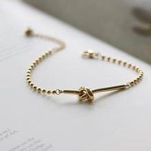 Amaiyllis 14K Gold Retro Knotted Bracelet Bangles Industrial Wind Round Bead Splicing Gold Bracelet For Women Jewellry Gift недорого