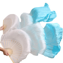 high quality real / imitation silk belly dance fans 1 Pair handmade dyed bamboo ribs long 180x90 Fan