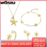 WOSTU 100% Real 925 Sterling Silver Golden Color Starfish Dorp Earrings & Necklace & Bracelet & Rings Jewelry Sets For Women