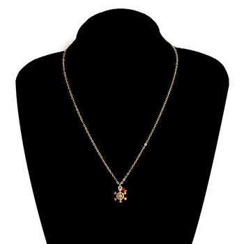 Creative Snowflake Red Crystal Long Necklace Pendant Women Fashion Personality Clavicle Sweater Chain Charm Necklaces Jewelry image