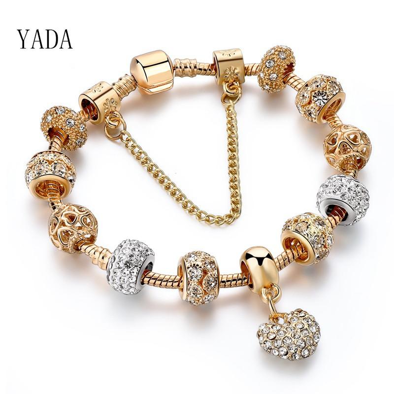 YADA Geschenke INS Mode gold herz Armbänder & Armreifen Für Frauen Heißer Kette Armbänder Charme Kristall Schmuck Trendy Armband BT200176