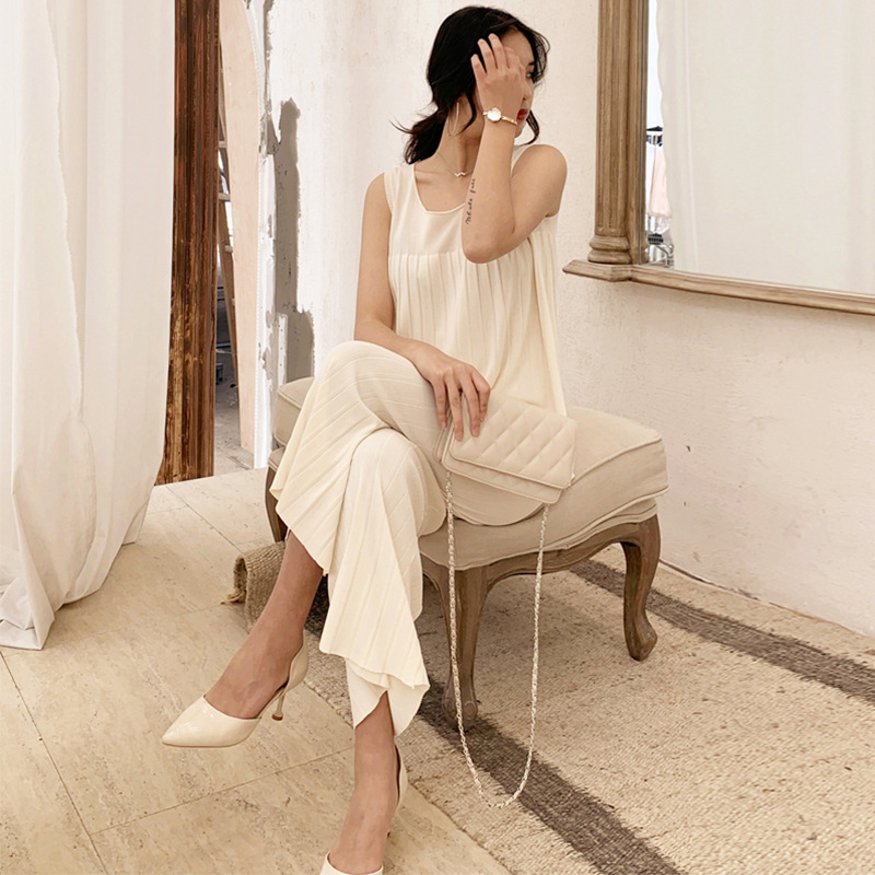 WOMEN'S Suit 2019 Summer New Products Korean-style Elegant Sleeveless Knitted Vest High-waisted Wide-Leg Capri Pants Two-Piece S