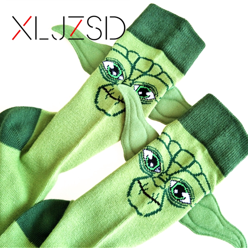 New Arrival Man Socks Star Wars Character Cotton Socks Yoda Grandmaster Seam Male Socks Funny Ears 3D Cartoon Socks Meias Hemp