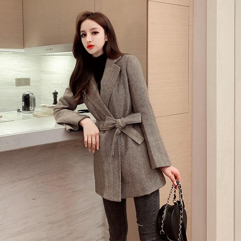 Women Plaid Blazers and Jackets Work Office Lady Suit Slim Warm Business Female Blazer Coat Talever 3#15/10D50