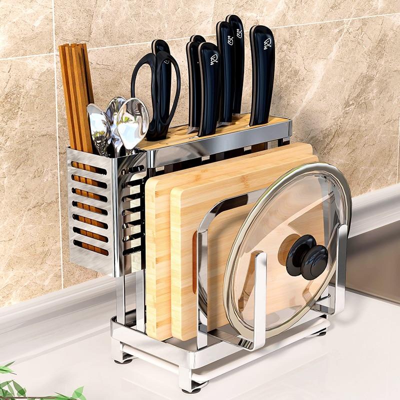 Multifunction Storage Stainless Steel Knife Holder Metal Universal Kitchen Knife Block Chopping Board Cutlery Organizer Rack