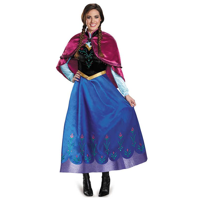 Платье Анны и Эльзы для взрослых; маскарадный костюм для девочек; женское платье принцессы Анны; съемная мантия для Хэллоуина и дня рождения; платье королевы из мультфильма «Холодное сердце»