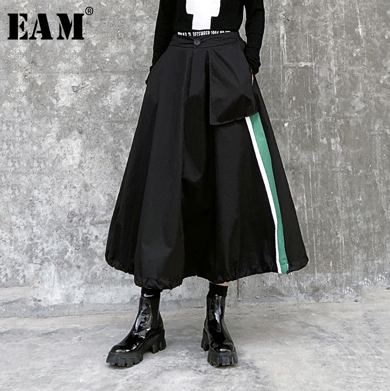 [EAM] High Elastic Waist Black Striped Split Temperament Half-body Skirt Women Fashion Tide New Spring Autumn 2020 1R465