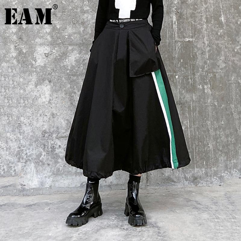 [EAM] High Elastic Waist Black Striped Split Temperament Half-body Skirt Women Fashion Tide New Spring Autumn 2020 1R465