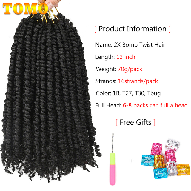 TOMO Bomb Twist Crochet Hair Synthetic 16Roots Spring Twist Pre Looped Crochet Braids Hair Extension Passion Twist for Women 2