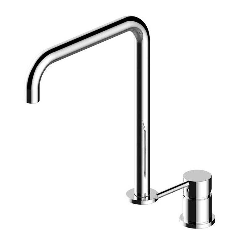 Laiton massif Rose or froid chaud Super Long tuyau deux trous robinet de cuisine 360 évier rotatif Split robinet mat noir/brosse or robinet - 4