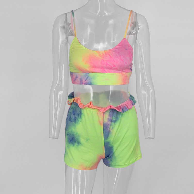 Thereadictネクタイ染料カジュアル 2 個セット女性スパゲッティストラップbackelssトップとショーツベルトセクシーな 2 個セット夏の服装