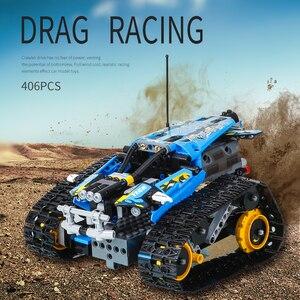 Image 5 - تكنيك RC تتبع حيلة متسابق اللبنات صالح Legoing الخالق 42095 APP التحكم عن بعد سيارة الطوب اللعب الهدايا للأطفال