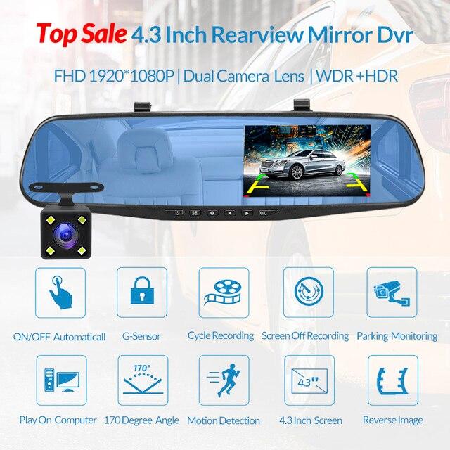 E-ACE Full HD 1080P voiture Dvr caméra Auto 4.3 pouces rétroviseur numérique enregistreur vidéo double lentille caméscope d'enregistrement 1