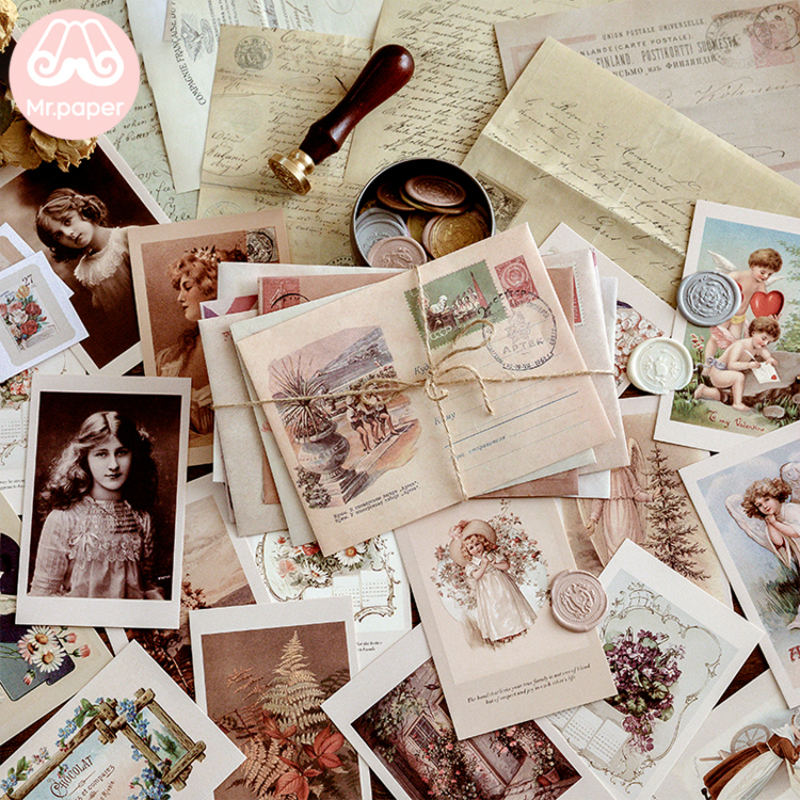 Mr Paper 6 Designs Vintage Retro Scrapbooking Original Journal Material Package Envelopes Creative Kawaii Artsy Gift Envelopes
