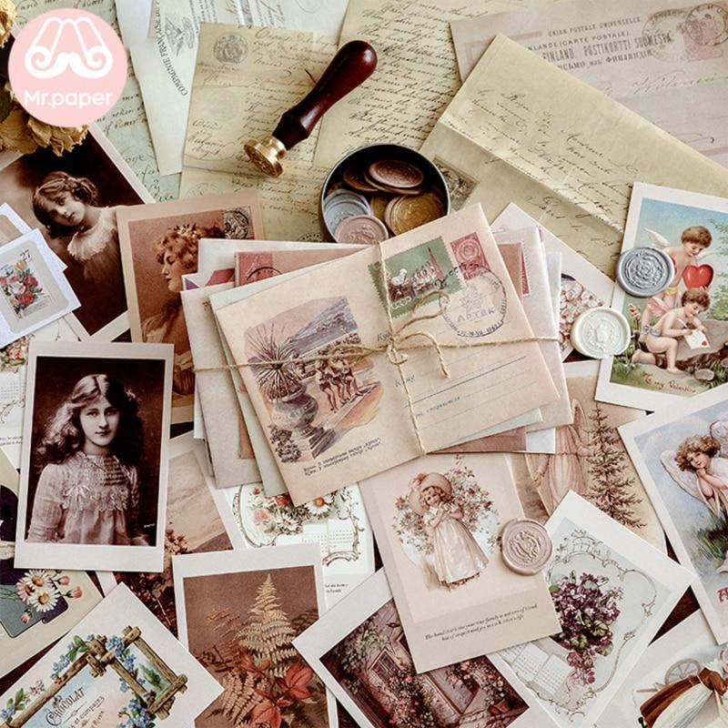 Mr Paper 6 Designs Vintage Retro Scrapbooking Original Journal Material Package Envelopes Creative Kawaii Artsy Gift Envelopes