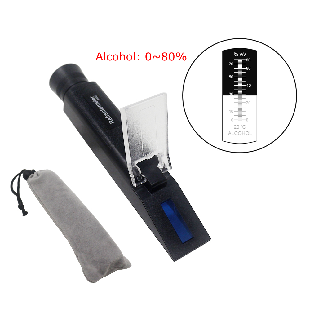 Handheld 0-80% Alcohol Refractometer Liquor Concentration Distilled Liquor Tester Meter Densimeter Alcohol ATC Refrectometer