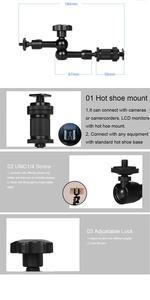 """Image 5 - ملحقات الكاميرا 7 """"في الألومنيوم قابل للتعديل مفصلية الذراع السحري لكاميرا الفيديو شاشات كريستال بلورية ضوء فلاش حامل DSLR الهاتف المحمول"""