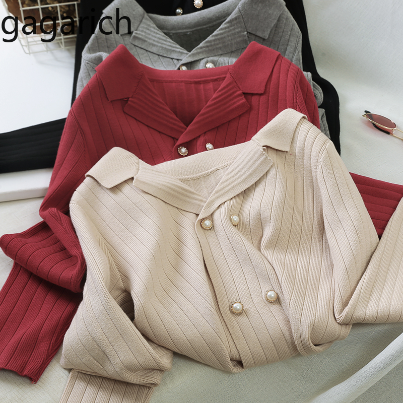 Gagarich Autumn Sweater New Korean Style Long-sleeve Short Knit Double-sleeve Solid V-neck Cardigan Female Tide 2020