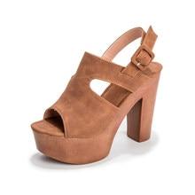 Sandalias de verano plataformas con tacón alto de 12cm para mujer, zapatos de piel sintética con suela gruesa, Boca de pescado, talla 43