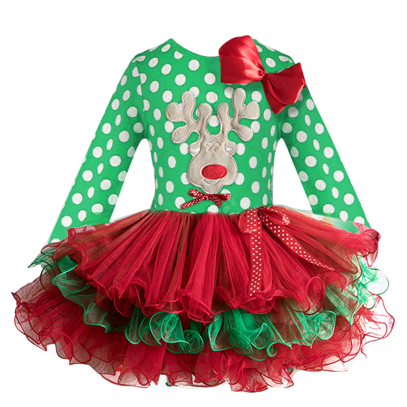 Hab05fe0f40444a1497d92cb5552a4a73h 2-6T Santa Claus Christmas Dress Kids Party New Year Costume Winter Snowman Baby Girl Clothes Christmas Tree Children Clothing