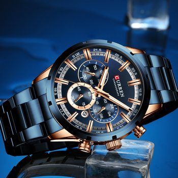 CURREN New Fashion Mens Watches with Stainless Steel Top Brand Luxury Sports Chronograph Quartz Watch Men Relogio Masculino 2