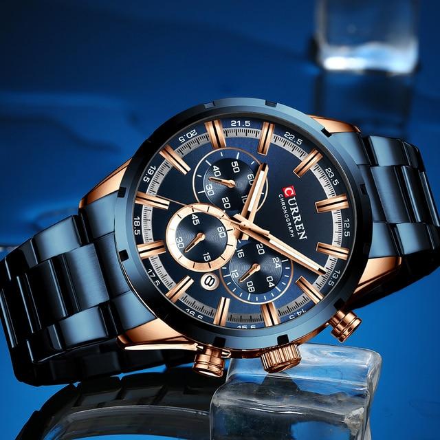 CURREN Mens Stainless Steel Luxury Chronograph Quartz Watch 2
