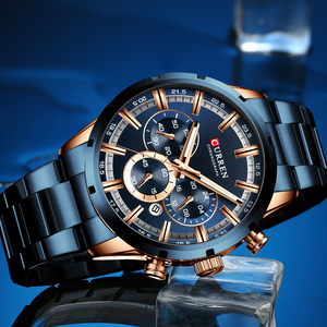 Image 2 - CURREN New Fashion Mens Watches with Stainless Steel Top Brand Luxury Sports Chronograph Quartz Watch Men Relogio Masculino