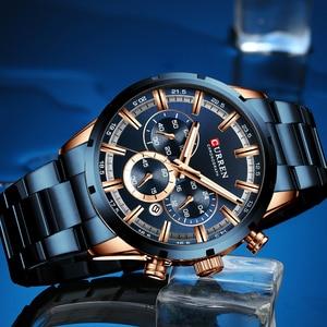 Image 2 - CURREN Relógios masculinos com aço inoxidável, a quartzo, com cronógrafo, esportivo, marca de luxo, nova moda em relógios de pulso para homens