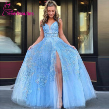 A-Line Long Prom Dresses 2019 Light Blue Tulle Lace Appliques V-Neck Side Slit Formal Robe De Soiree
