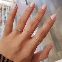 4 unids/set cristal colorido vintage anillos de dedo de piedra las mujeres Midi Kunckle nueva moda de fiesta boda venta al por mayor de joyería