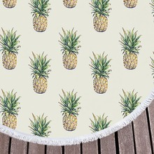HOT Pineapple Round Beach Towel for Adults Fruit Printed Large Summer Microfiber Kids Toalla Yoga Mat 150cm