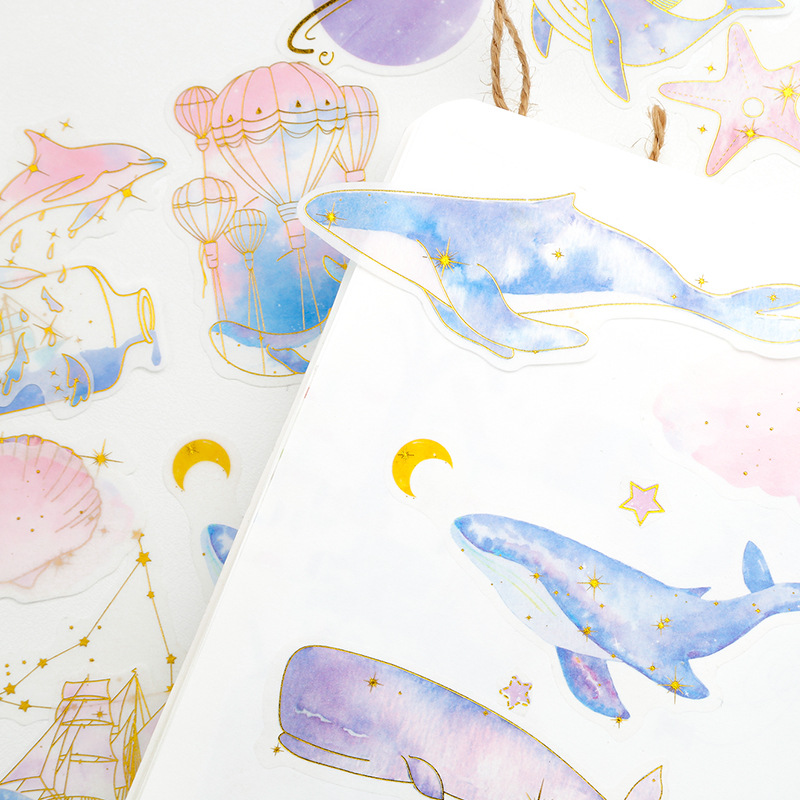 60 Pcs/pack Dream Whale Decorative Sticker Set Diary Album Label Sticker DIY Scrapbooking Stationery Stickers Escolar