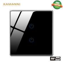 Kamanni Remote Control RF 433 3 Gang Smart Ligth Switch Gold/White/Black/Grey 4 Colors Optional 1/2/3 Gang 1/2 Way Glass Panel ifree fc 368m 3 channel digital control switch white grey
