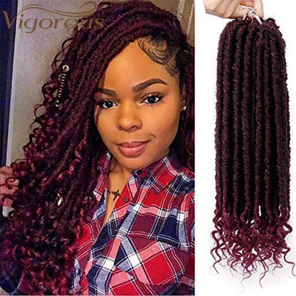 Vigorous Faux Locs Crochet Braids 16 20inch Soft Natural Synthetic Hair Extension 24 Stands/Pack Goddess Dread Loc Hair