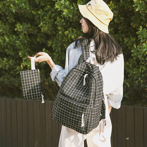 Image 3 - 2セットバックパックキャンバス女性のバックパックタータンチェック柄の新ティーンエイジャーの少女ランドセルmochilas女性の学校のバックパックbagpack